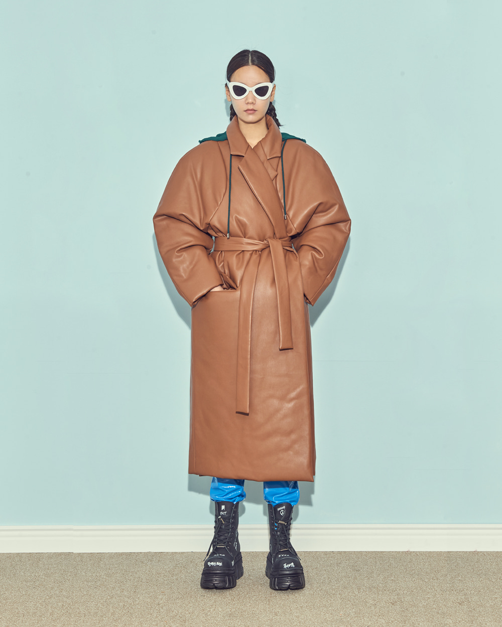 FW19 HOODY LEATHER COAT