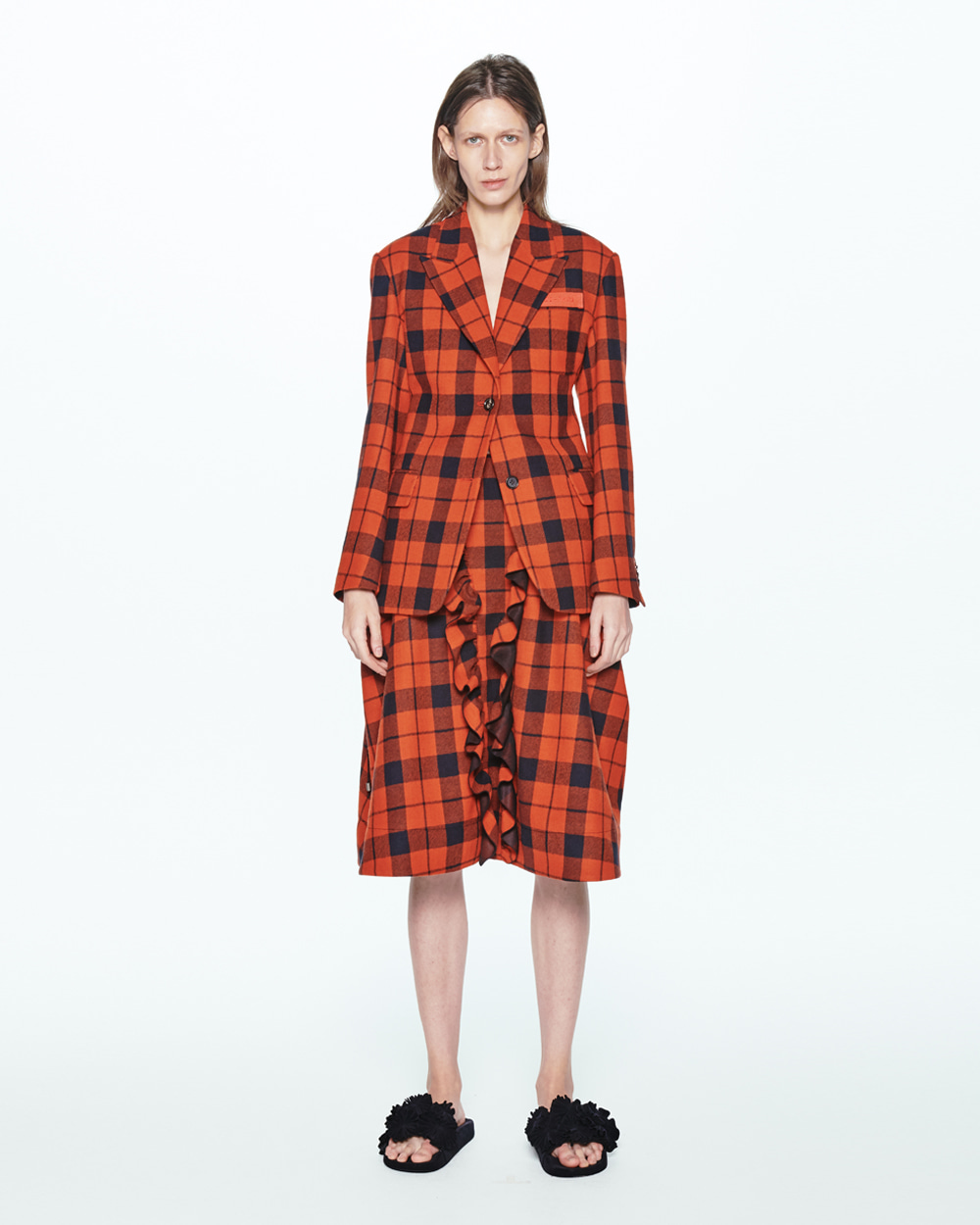 PF20 BELTED-BACK SINGLE CHECK JACKET