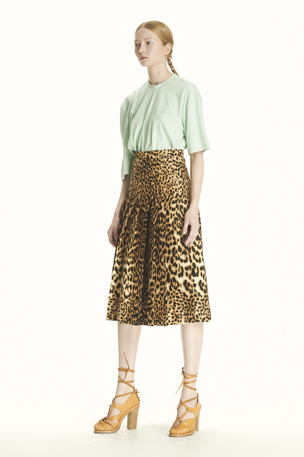 PS21 PLEATED LEOPARD SKIRT
