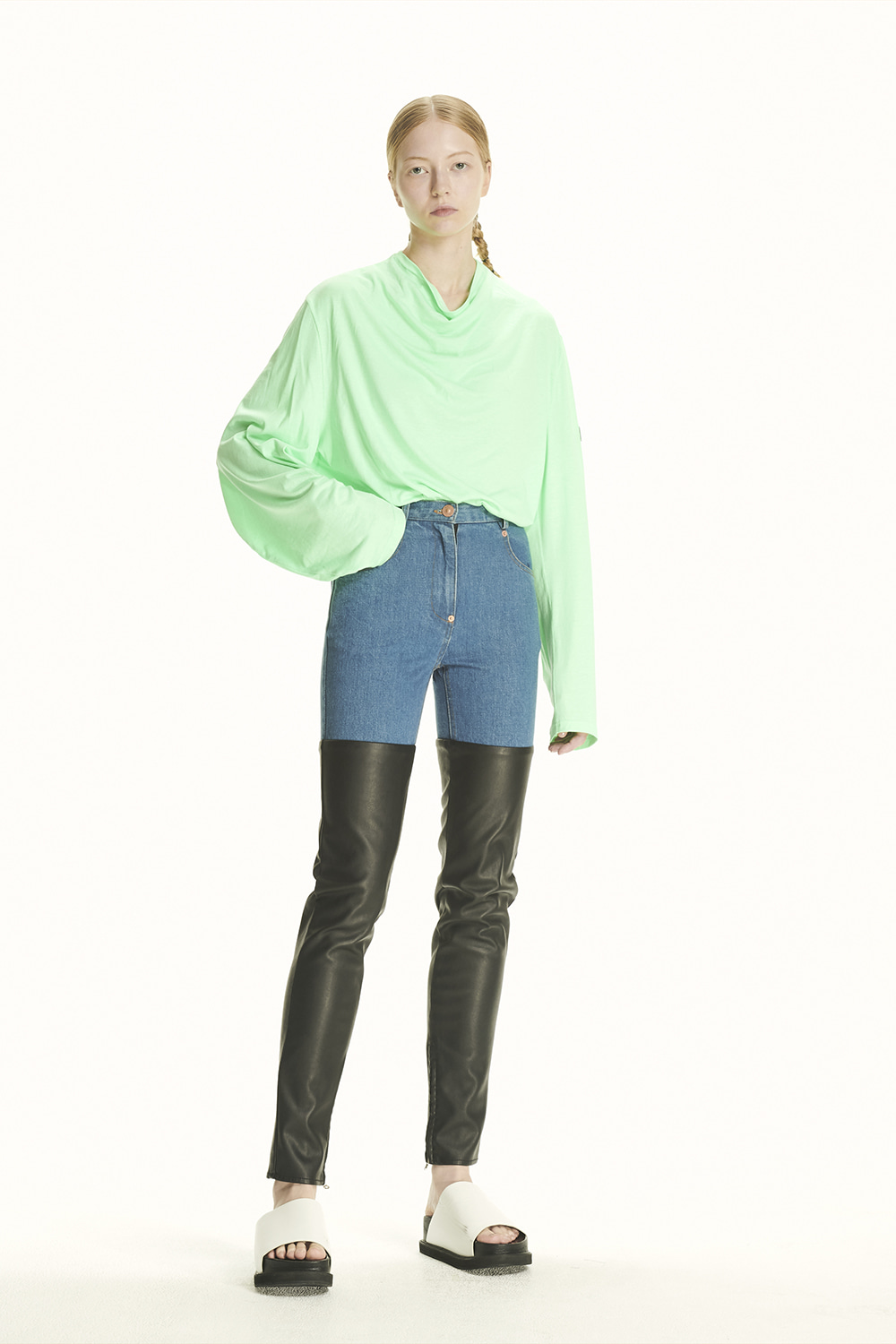 PS21 DRAPED NECK GREEN TOP
