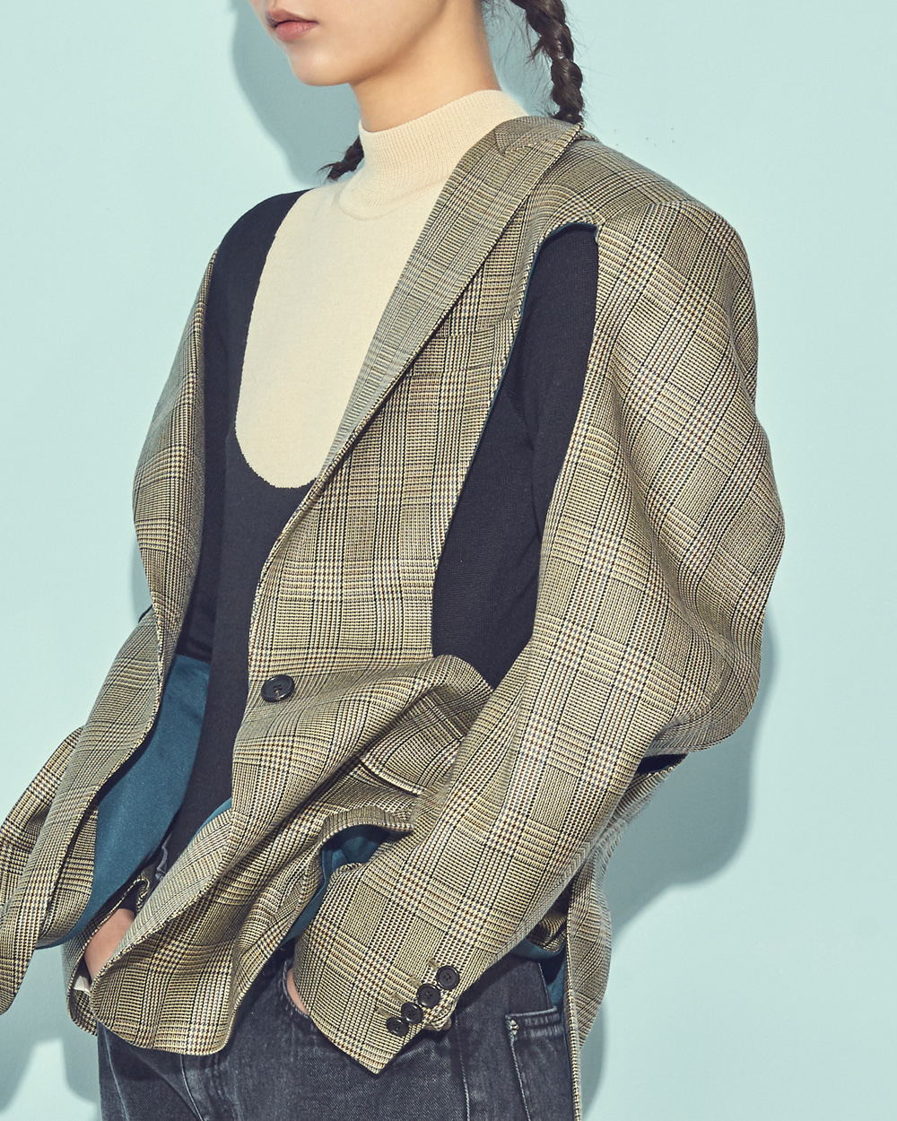 CUTOUT POINT SINGLE CHECK JACKET