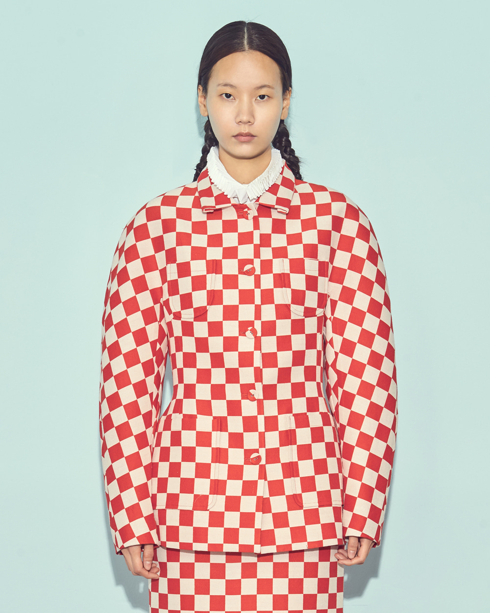 DOUBLE POCKET CHESS CHECK JACKET