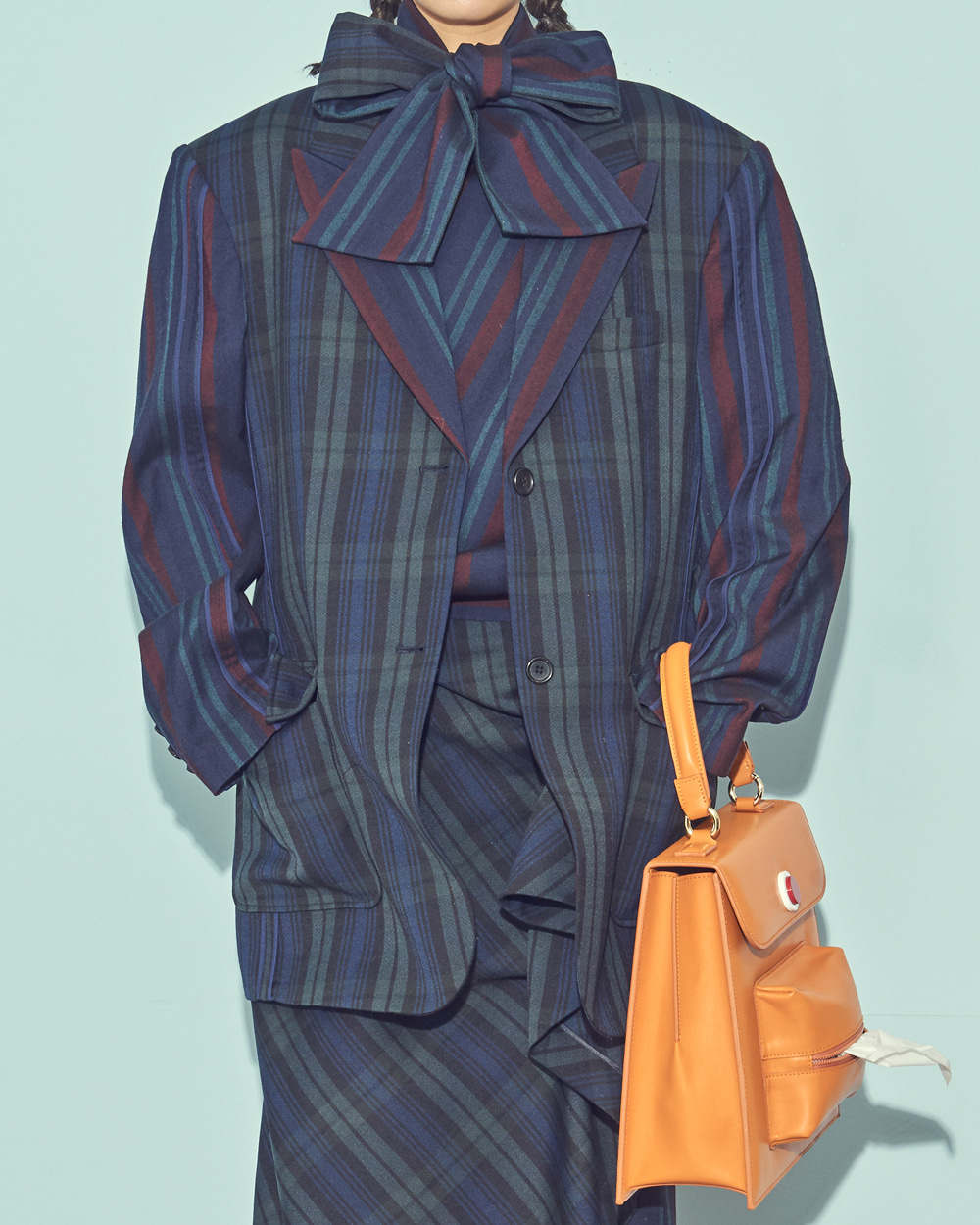 UNIQUE BINDING WOOL CHECK JACKET