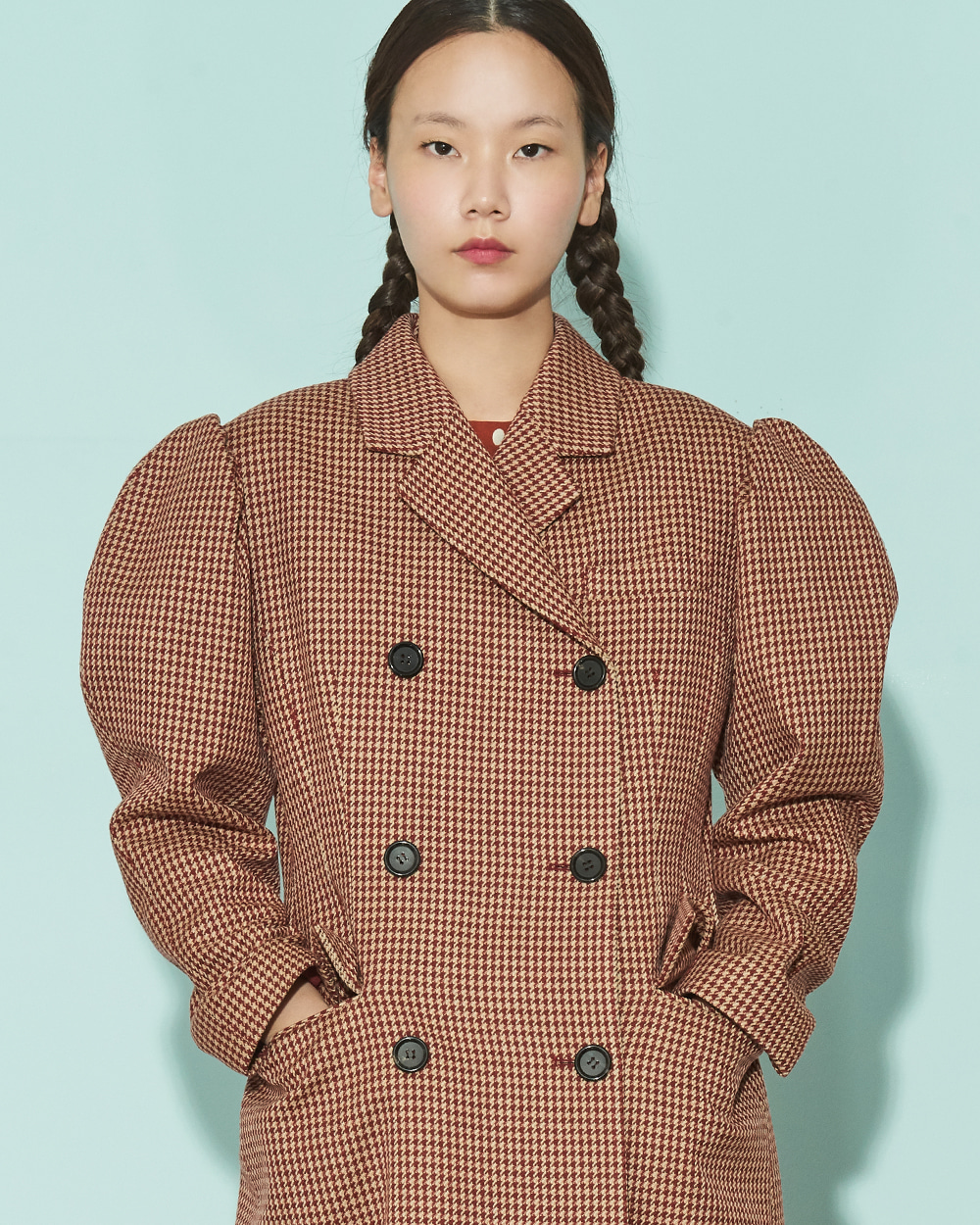 FW19 PUFF SLEEVES SLIM WINE CHECK COAT