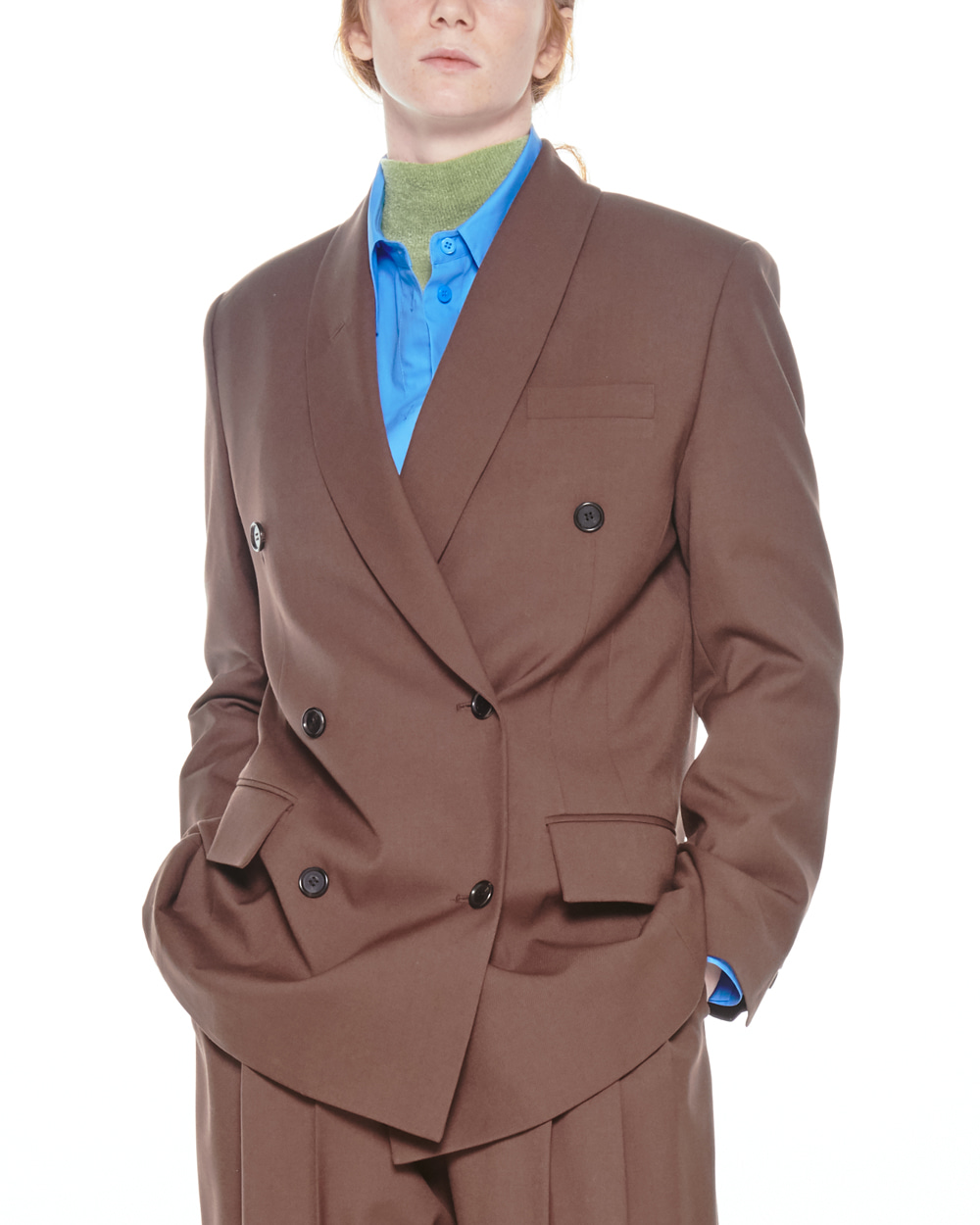FW20 SHAWL COLLAR DOUBLE BROWN JACKET