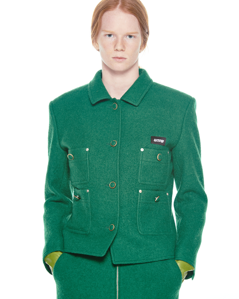 FW20 WOOL SHORT GREEN JACKET