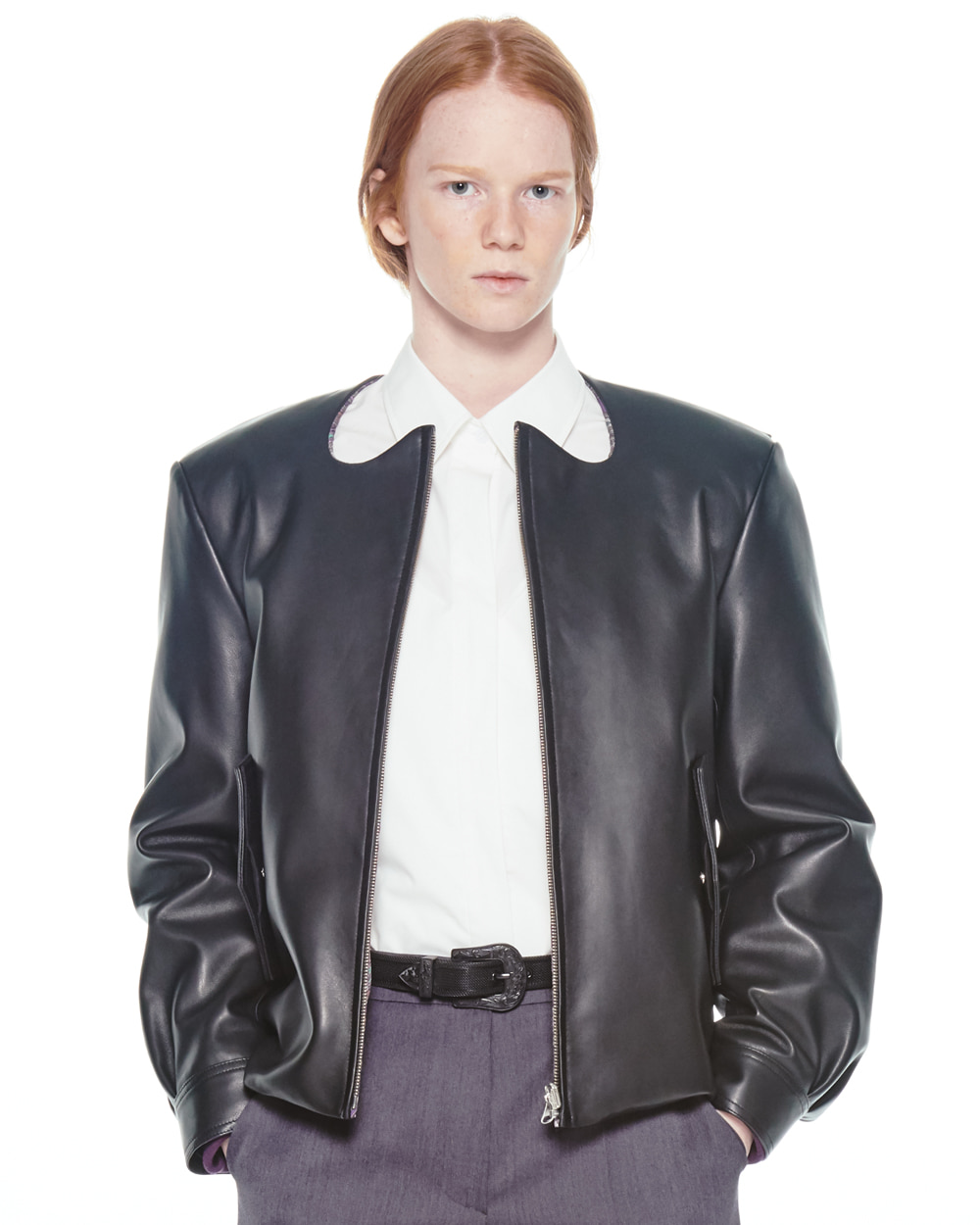 FW20 REVERSIBLE CURVE LEATHER JACKET