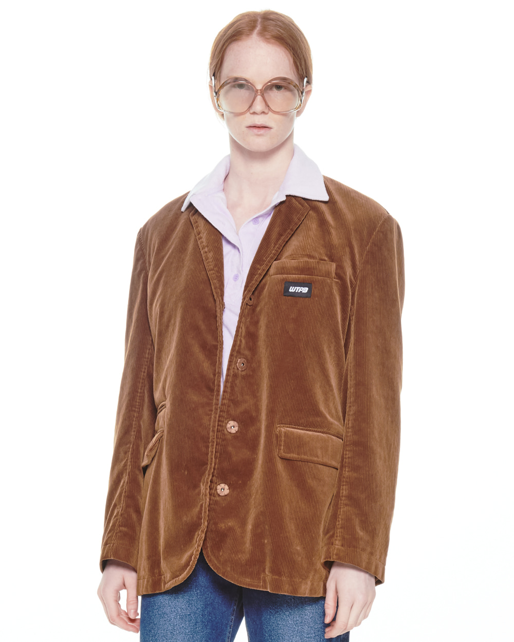 FW20 HIDDEN BUTTON CORDUROY BROWN JACKET