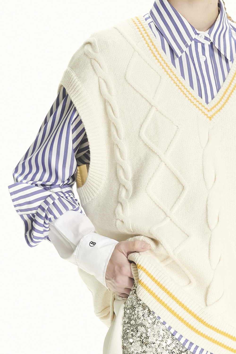 PS21 LAYERED SLEEVE STRIPE SHIRT